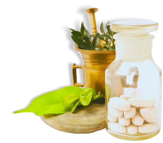 mortar with herbs, and pharmacy bottle