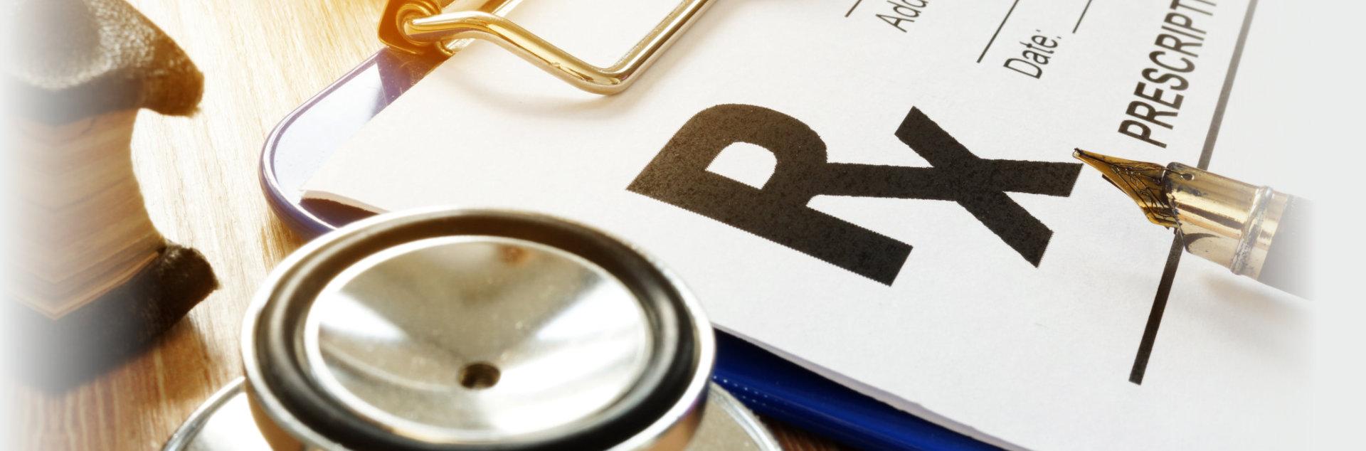 Health care concept. Prescription form for medicines.