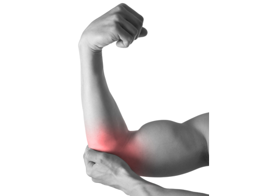 Muscular body man holding elbow sore in pain